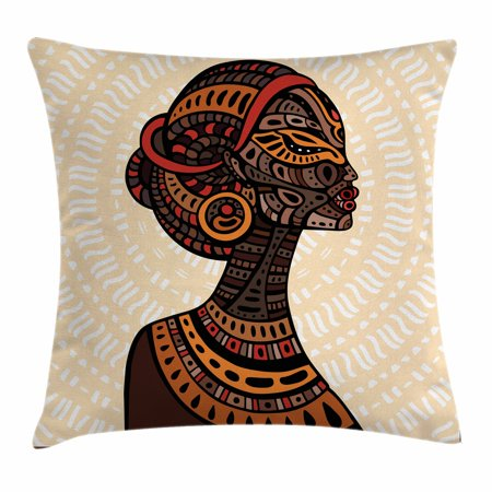 African Woman Throw Pillow Cushion Cover, Hand Drawn Ethnic Illustration Profile Portrait Tribal Ornaments Folk Art, Decorative Square Accent Pillow Case, 16 X 16 Inches, Multicolor, by Ambesonne