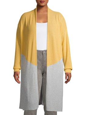 Terra & Sky Women's Plus Size Long Sleeve Chevron Colorblock Cardigan