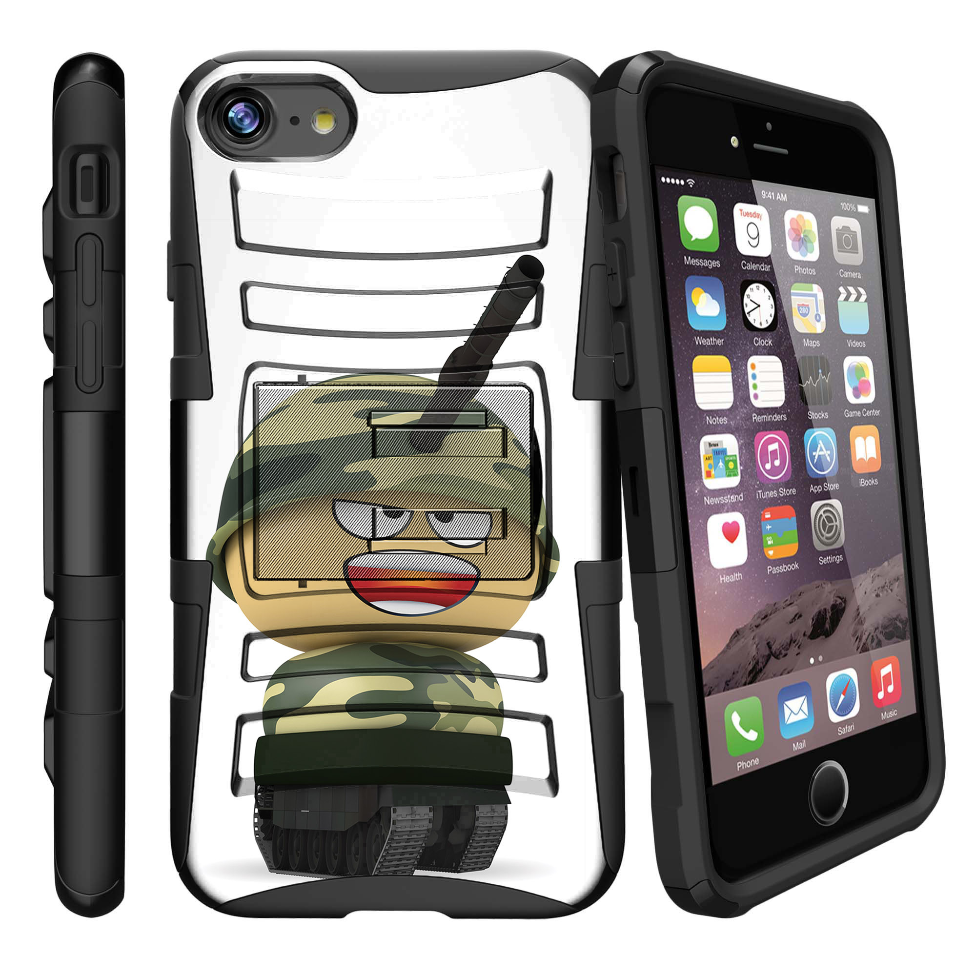 Apple iPhone 7  Case Shell [Clip Armor]- Premium Defender Case Hard Shell Silicone Interior with Kickstand and Holster by Miniturtle® - Tank Helmet Boy
