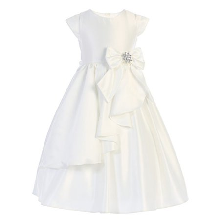 Girls Ivory Satin Cascading Ribbon Accent Communion - Ribbon Back Dress