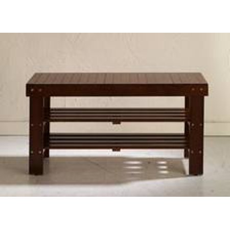 Legacy Decor 2 Tiers Wooden Shoe Bench Rack In Walnut Finish