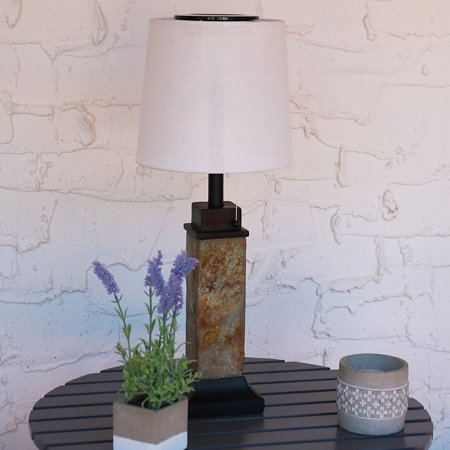 Sunnydaze Outdoor Solar Table Lamp With Slim Slate Base And Fabric