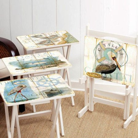 (Cape Craftsmen Shore Birds TV Tray with Stand (Set of 4))