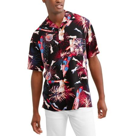 18b8b12e George - Men's Printed Rayon Short Sleeve Woven Shirt - Walmart.com