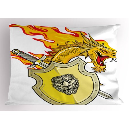 Dragon Pillow Sham Legendary Creature with Royal Shield Sword Hero Knight Medieval Print, Decorative Standard Queen Size Printed Pillowcase, 30 X 20 Inches, Marigold Pistachio Green, by Ambesonne