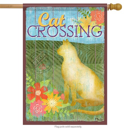 Cat Crossing Kitty House Flag Kitten Decorative Floral 2 Sided Pet 28