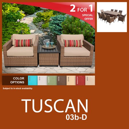 tuscan 12 piece outdoor wicker patio furniture package