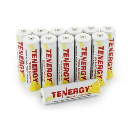 - Tenergy AA Rechargeable Battery NiCd 1000mAh 1.2V Battery Pack for Solar Lights, Garden Lights, Remotes, Mice, 12-Pack