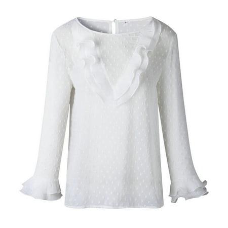 Women Ladies Elegant Casual Ruffles Lace Polka Dot Shirt Long Sleeve Tops Blouse