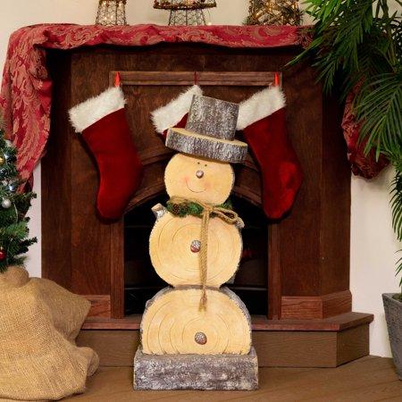 Alpine Corporation Indoor Or Outdoor Wooden Christmas Snowman Statue