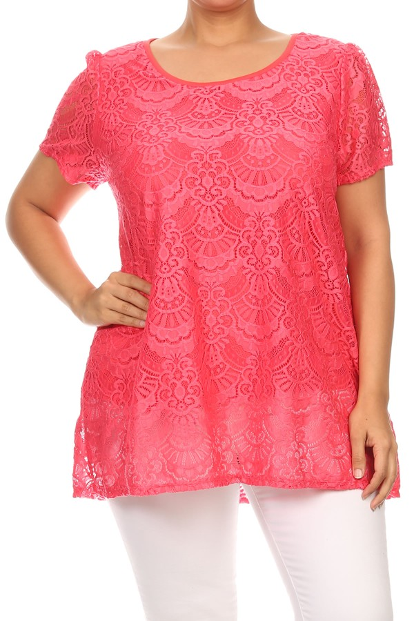 Women's PLUS trendy style , short sleeve lace top.