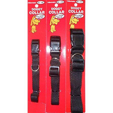 Dog Collar Adjustable Small, Medium, or Large - BLACK Quick Release Clip