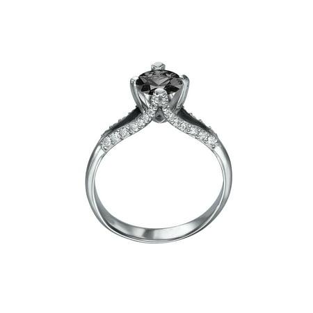 White Gold Diamond Designer Ring (14K White Gold 1.50 CTW Black Diamond Ring with Diamonds Split Shank Unique Designer )