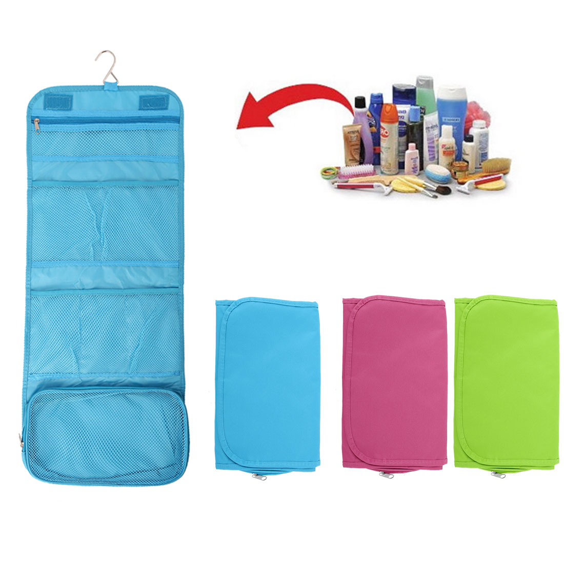 portable foldable travel hanging toiletry bag cosmetic wash bag for women
