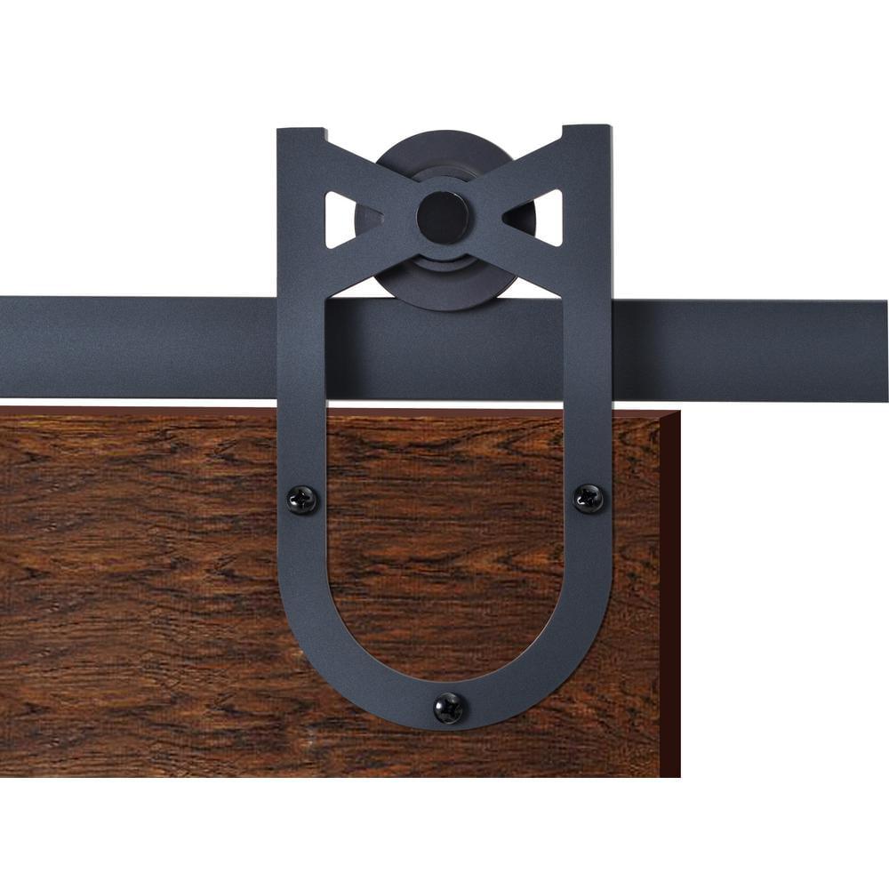 CALHOME 72 in. Matte Black Heirloom Horseshoe Barn Style Sliding Door Track and Hardware Set