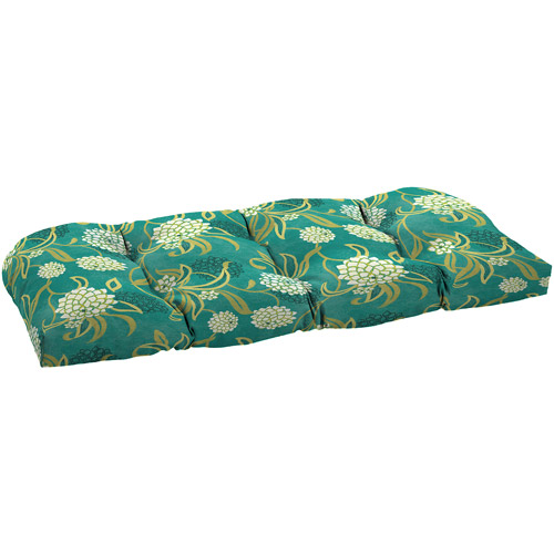 Mainstays Outdoor Oversized Wicker Settee Cushion, Snowball Floral