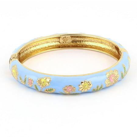 Unique Bargains 2.7  Dia  Blue Hinge Wrist Enamel Bracelet Bangle for Lady