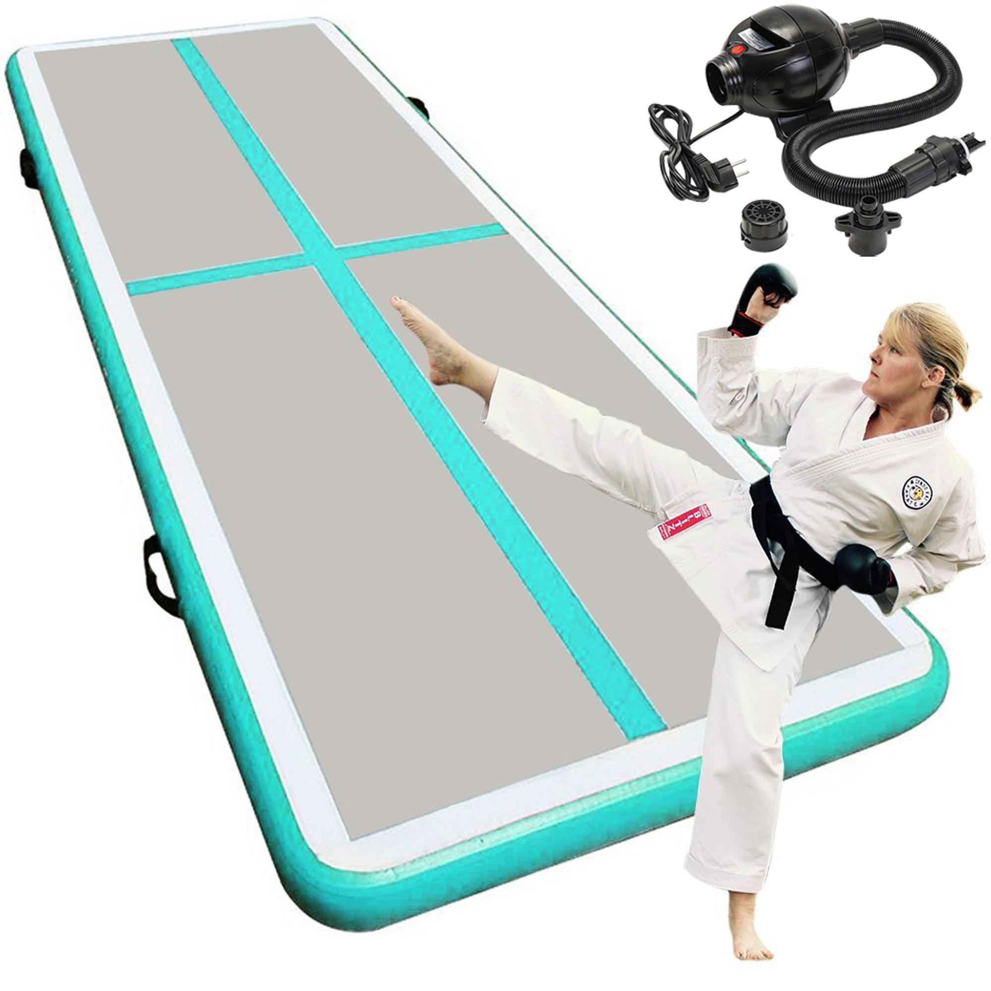 "TINTON LIFE 118"" Inflatable Gymnastic Yoga Pad Air Track Floor Airtrack Tumbling Yoga Mat For Home Use, Gymnastics Training, Beach, Taekwondo, Cheerleading With Electric Air Pump (Lake Blue)"