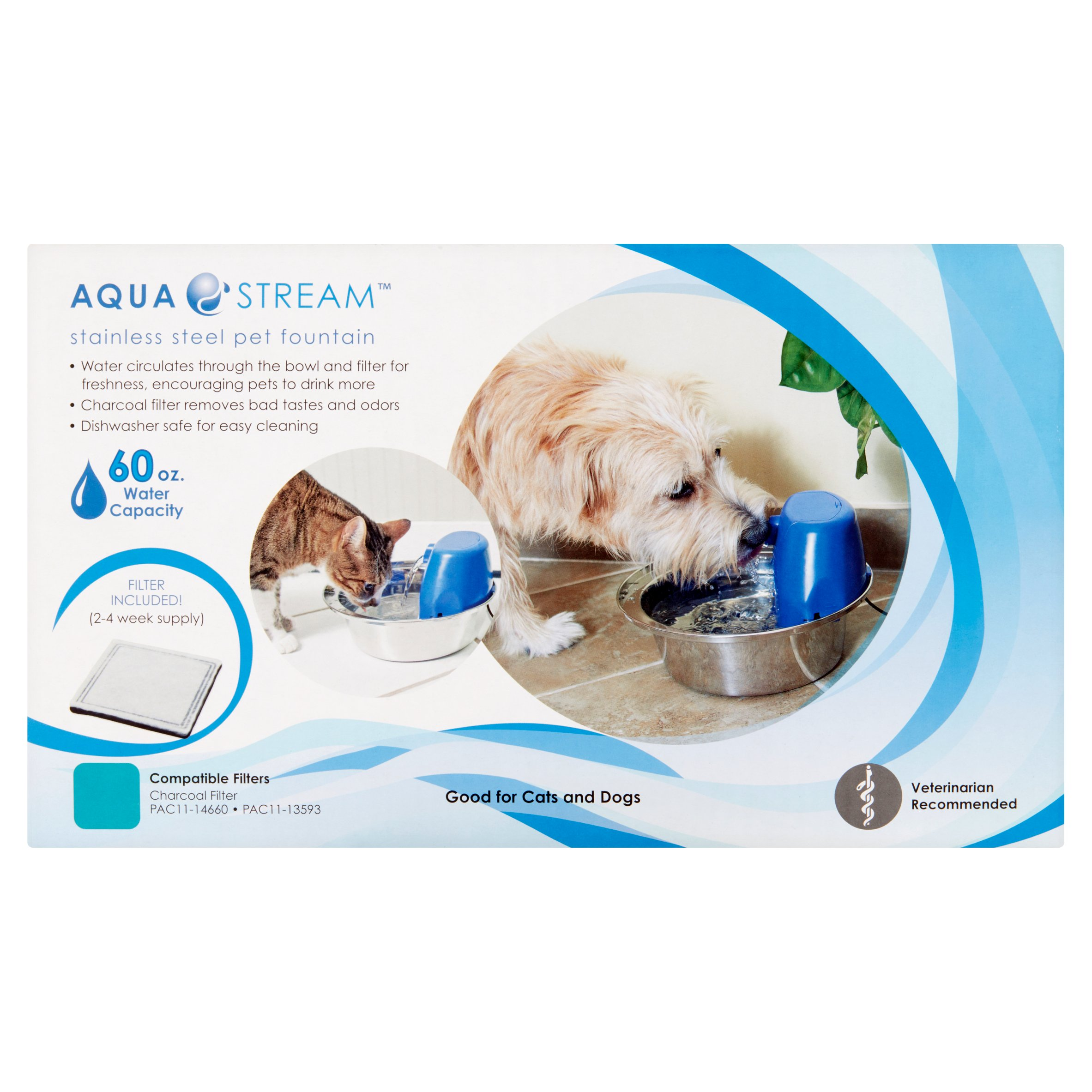 Aqua Stream Pet Fountain, Ocean Blue