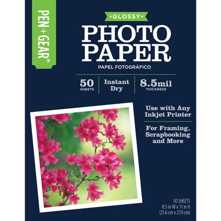 Pen + Gear Glossy Photo Paper, 8.5u0022 x 11u0022, 50 Count