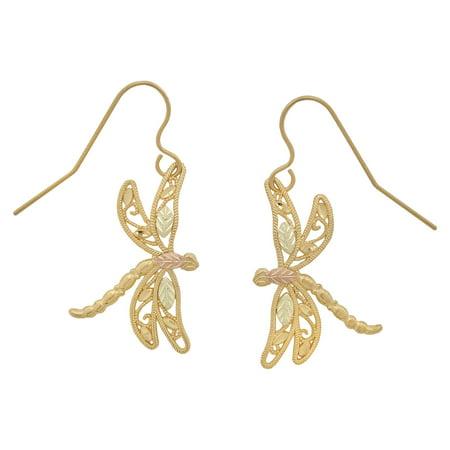 10k Gold Black Hills Dragonfly Earrings