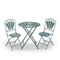Alpine Corporation 3-Piece Outdoor Feather Metal Bistro Set, Turquoise