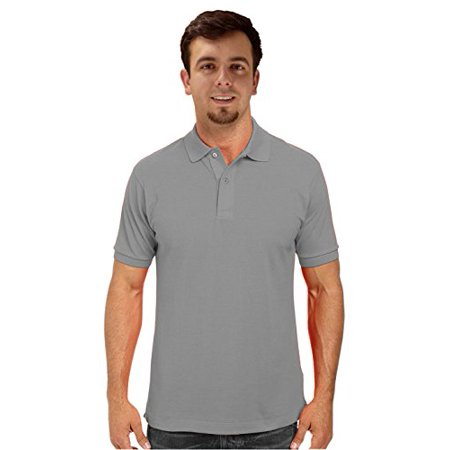 Peach Couture Mens Short Sleeve Classic Pique Polo Shirt Grey X-Large