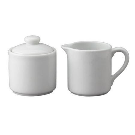 Harold Import Company Porcelain Sugar Bowl And Creamer Set  2 Pieces   White