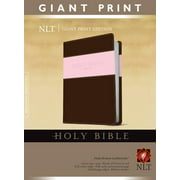 Holy Bible, Giant Print NLT, TuTone (Red Letter, LeatherLike, Pink/Brown)