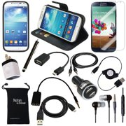 DigitalsOnDemand ® 13-Item Accessory Bundle for Samsung Galaxy S4 SIV S IV i9500 - Leather Case, TPU Cover, Screen Protector, USB Cables + Chargers