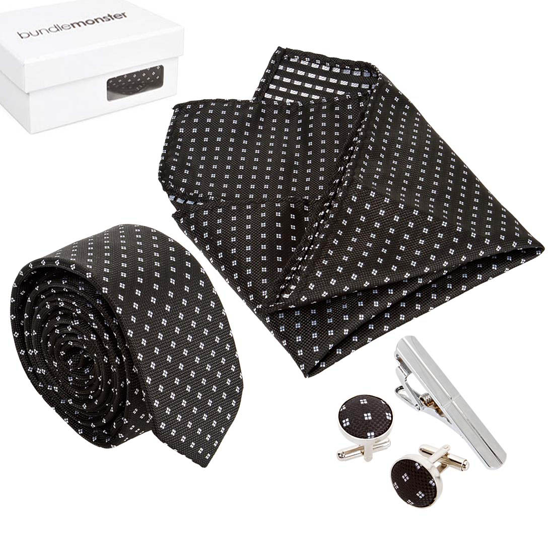 Bundle Monster Mens Fashion Necktie Cufflinks Tie Bar Pocket Square Combo Set