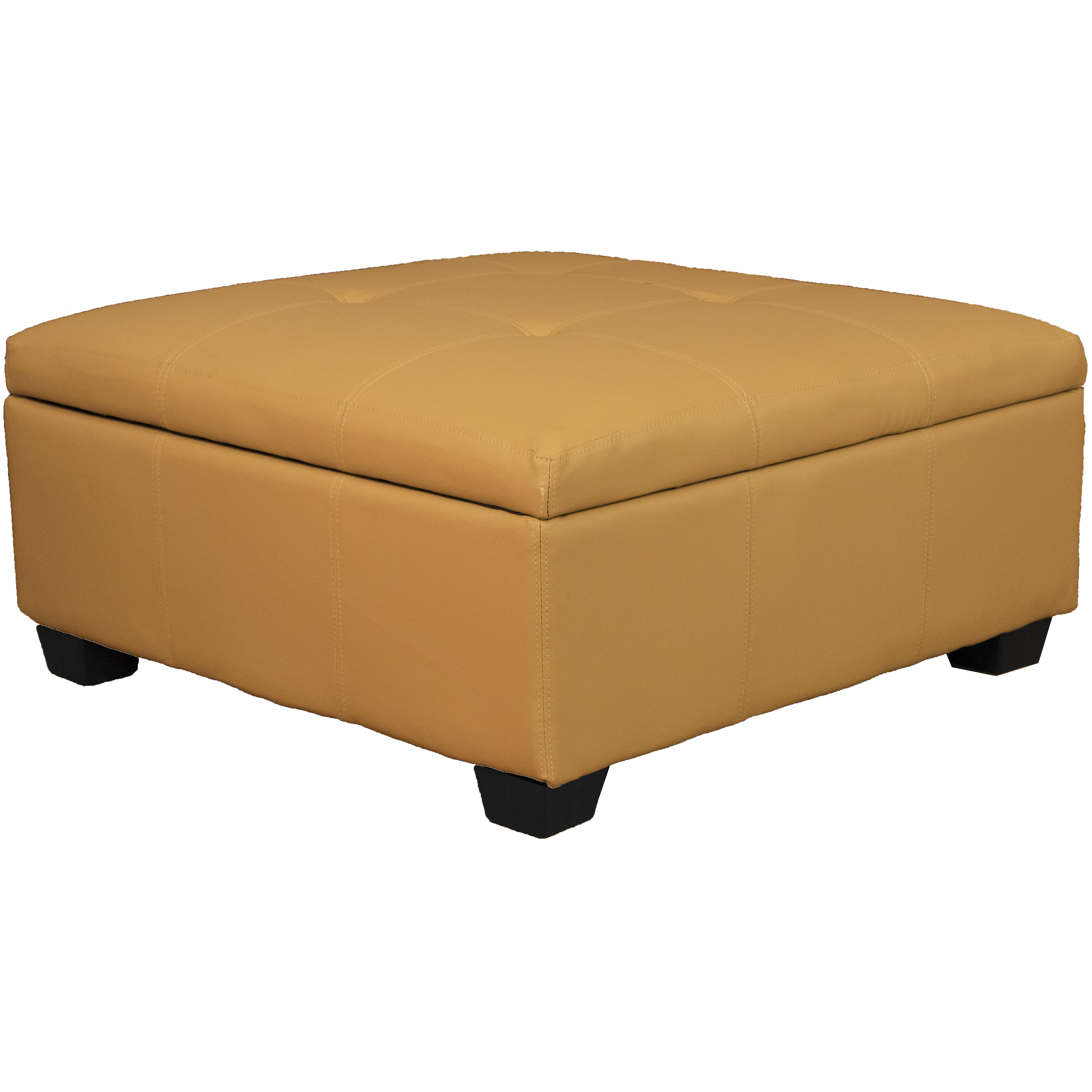 Timeless 36 Inch Large Square Tufted Padded Hinged Storage Ottoman