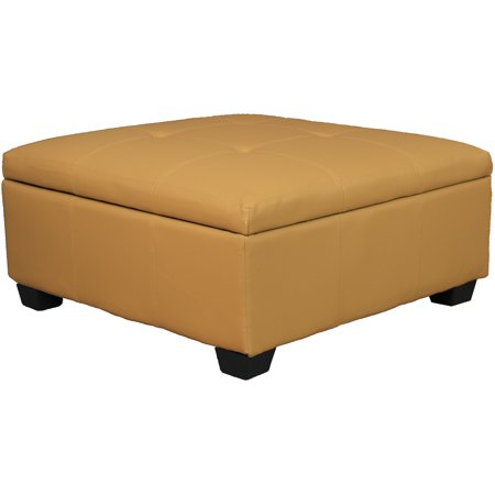 Timeless 36 Inch Large Square Tufted Padded Hinged Storage Ottoman Bench Leather Look Buckskin