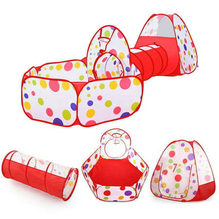 Kids Play Tent with Tunnel and Ball Pit, Glonova 3 in 1 Child Baby Playhouse Tent