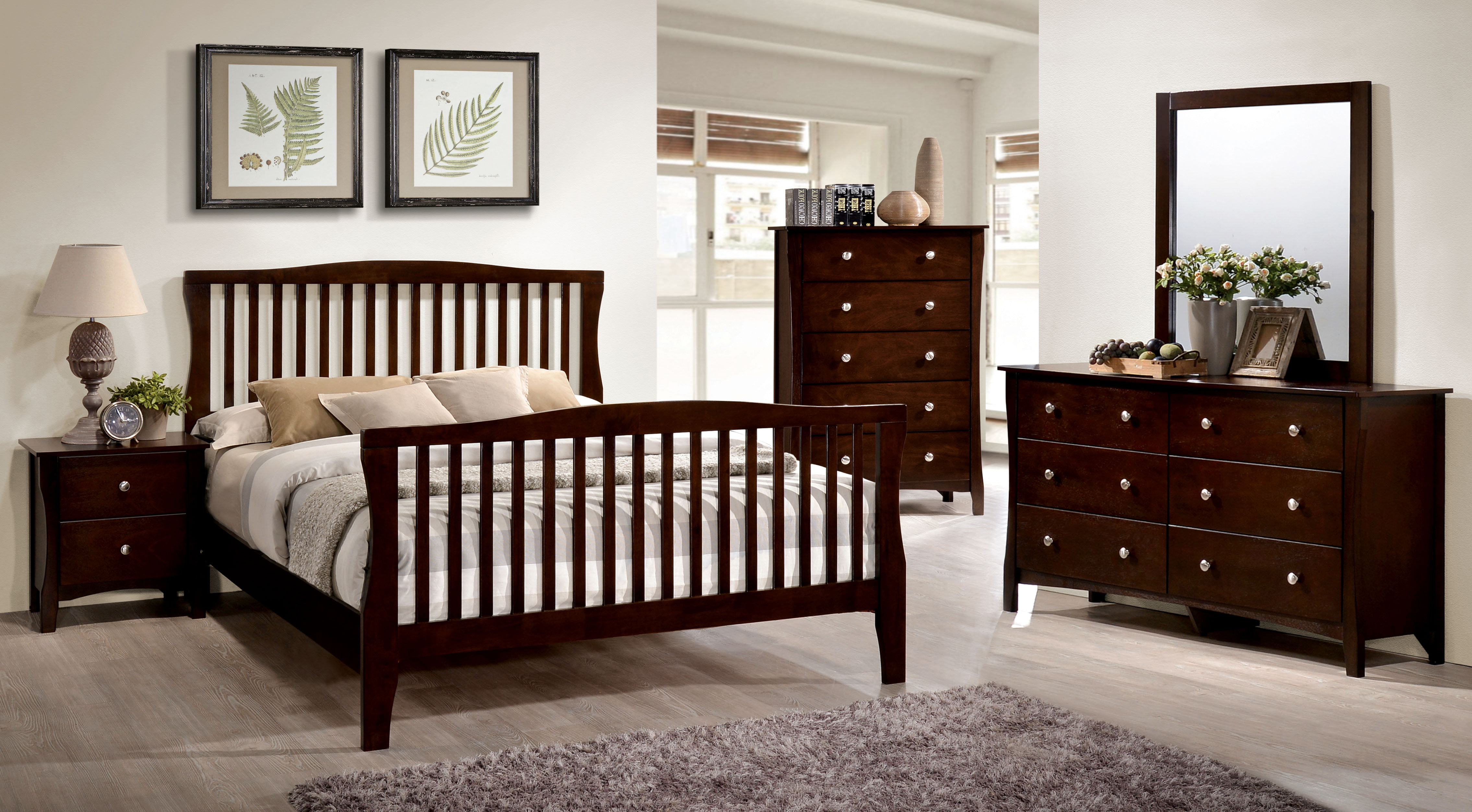 Furniture of America Areena 4-Piece Areena Brown Full Bedroom Set, Cherry by Furniture of America