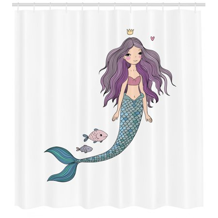 Fantasy Shower Curtain, Cartoon Mermaid Princess with Wavy Hair Crown Little Pink Heart and Fish, Fabric Bathroom Set with Hooks, 69W X 70L Inches, Violet Blue and Beige, by Ambesonne ()