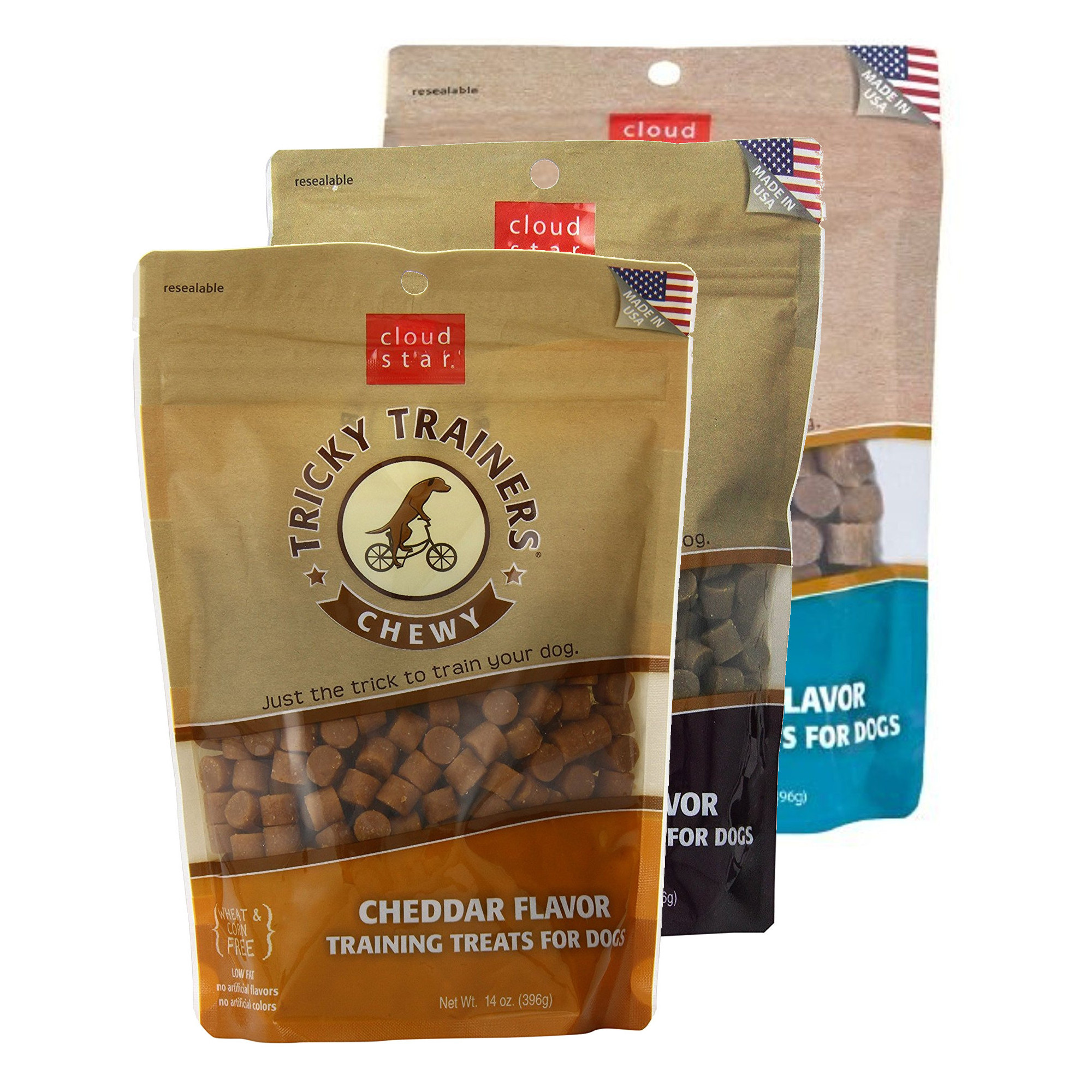 Cloud Star Chewy Tricky Trainers (1) Cheddar and (1) Liver and (1) Salmon 14 oz Dog Treats Variety Pack