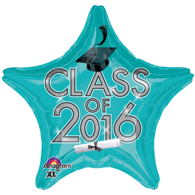 "Anagram Class of 2016 Grad Cap Star Jr Shape 19"" Foil Balloon, Teal"