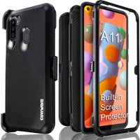 Samsung Galaxy A11 Case, COVRWARE [ Tri Series ] with Built-in [Screen Protector] Heavy Duty Full-Body Rugged Holster Armor Case [Belt Swivel Clip][Kickstand], Black