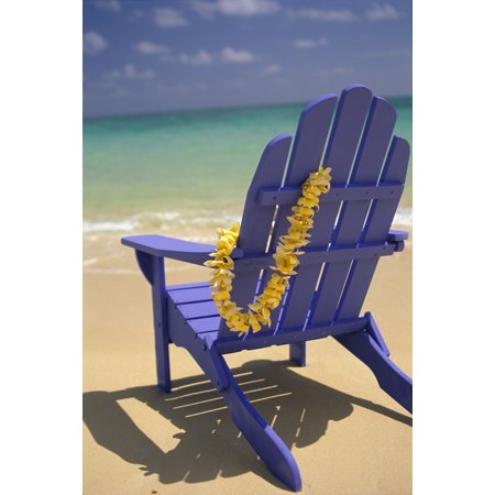 Close-Up Blue Beach Chair With Plumeria Hanging On Side Facing Ocean Stretched Canvas - Dana Edmunds  Design Pics (12 x - Plumeria Design