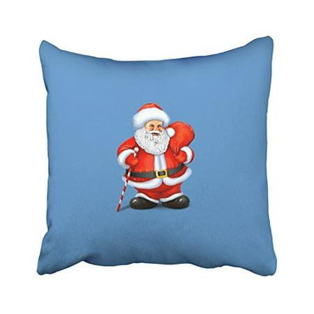 WinHome Cartoon Cute Santa Claus Gift Crutch Blue And Red Decorative Pillowcases With Hidden Zipper Decor Cushion Covers Two Sides 18x18 inches - Blue Santa Claus