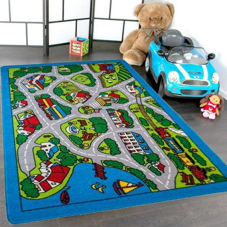 Mybecca Kids Rug Street Map In Grey 3 X 5 Children Area For Playroom Nursery Non Skid Gel Backing 39 56