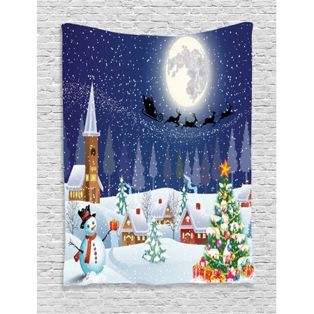 Christmas Tapestry, Winter Season Snowman Xmas Tree Santa Sleigh Moon Present Boxes Snow and Stars, Wall Hanging for Bedroom Living Room Dorm Decor, Blue White, by - Santa Wall Hanging