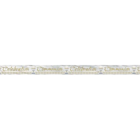 Foil Radiant Cross First Communion Banner, 12 ft, Gold & Silver, 1ct