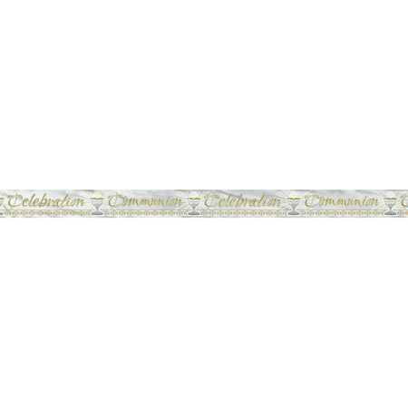 Foil Radiant Cross First Communion Banner, 12 ft, Gold & Silver, 1ct](Communion Banners)