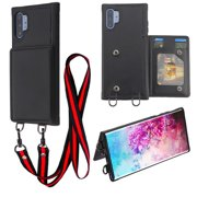 Samsung Galaxy Note 10 PLUS Phone Wallet Case with Long Lanyard Neck Strap Suspend TPU Protective Cover Leather PU Flip Pouch Card Holder Detachable Necklace BLACK for Anti-Lost for Galaxy Note 10+