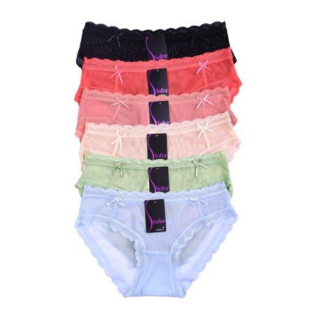 Lace Nylon Bikini - 12-PAIRS Sofra Women's Nylon Blend Lace Bikini Panty (LP9020LK)