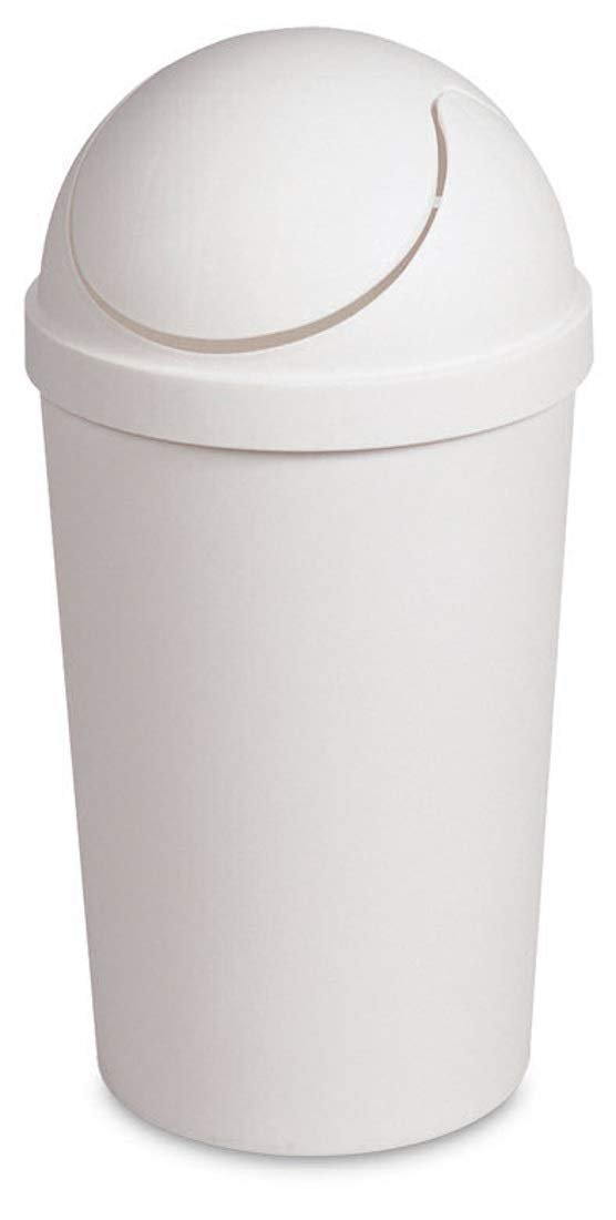 Round Swing Top Waste Basket Dust Container Recycling Bin Trash Can for  Home Powder Room Kitchen Office Garbage Bathroom Indoor Outdoor Janitor ...