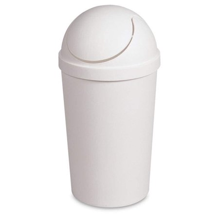 Round Swing Top Waste Basket Dust Container Recycling Bin Trash Can for Home Powder Room Kitchen Office Garbage Bathroom Indoor Outdoor Janitor Cleaning 3 Gallon Capacity 11.4L,18.5x9.5-White