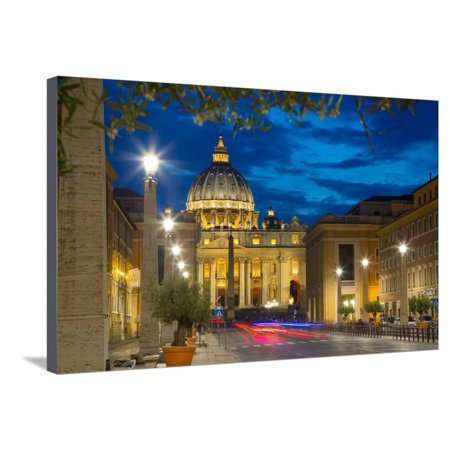 Party City Site (St. Peters and Piazza San Pietro at Dusk, Vatican City, UNESCO World Heritage Site, Rome, Lazio Stretched Canvas Print Wall Art By Frank)